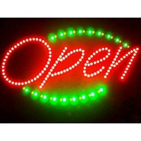Led Open Signs with Green Oval