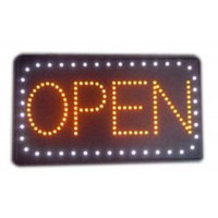 Open Led Sign with White Border