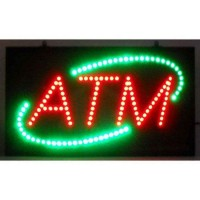 Led ATM Signs with Green Oval