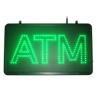 Single Green Color Led ATM Sign Double Letters