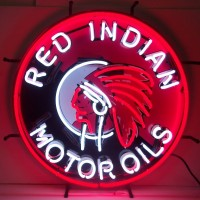 Red Indian Motor Oils Neon Sign