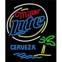 Miller Lite Palm Tree Cerveza Island Neon Sign