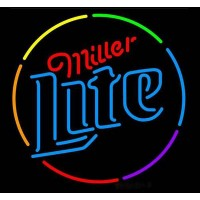 Miller Lite Multi-Color Circle Neon Beer Sign