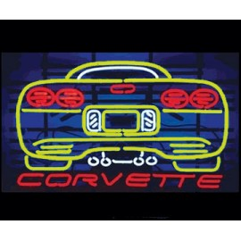 Yellow Corvette Neon Auto Sign
