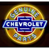 Chevrolet Genuine Parts Metal Can Neon Sign