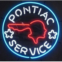 Pontiac Service Indian Head Neon Sign