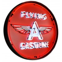 Flying A Gasoline Metal Can Neon Sign