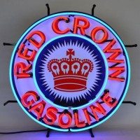 Red Crown Gasoline Neon Sign